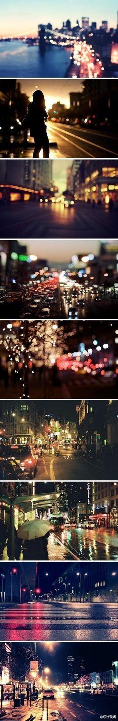Um conjunto de fotos que ilustra as luzes da cidade com uma estética bacana para a campanha. Detalhe para a primeira foto com o por do sol