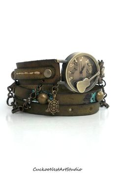 Guitar Wrap Watch, Womens leather watch, Distressed Bracelet Watch, Aged Wrist Watch with Chain