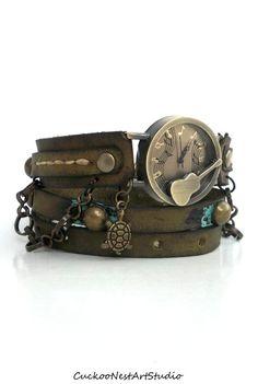 Guitar Wrap Watch, Womens leather watch, Distressed Bracelet Watch, Aged Wrist Watch with Chain