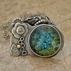 Bloom.... A Borosilicate glass Sterling Silver and by caroleaxium, $129.00