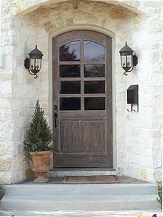 Is your front door wood? Could you scrape the paint and refinish it in a natural wood stain? COOL idea for our front door! Country Front Door, Wood Front Doors, Front Door Entrance, Door Entryway, The Doors, Front Door Colors, Front Entrances, Entry Doors, Windows And Doors