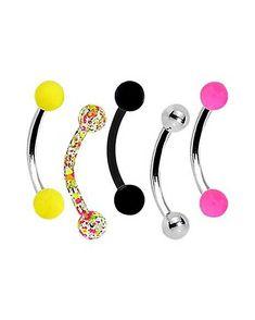 20x//Set Curved Ball Barbell Eyebrow Rings Body Bar Tragus Piercing Jewelry DD