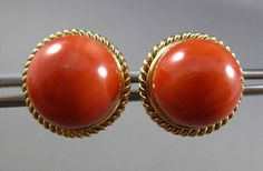 ANTIQUE LARGE AAA NATURAL CORAL 14K YELLOW GOLD 3D ROUND ROPE STUD EARRINGS 2952  | eBay