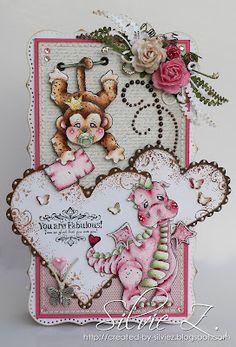 Magnolia stamps Sally the Monkey and LilyRose Dragon. Copics: R89, 85, 83, 81, RV00, 0000; G24, 21, 20; E29, 27, 25, 23, 21, R39, 22, 20; E13, 11, 00, 0000
