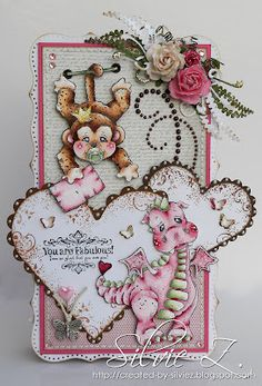 hello,Hope you all had a wonderful Easter time. Today starts a new challenge at at Bunny Zoe's Crafts. This time our theme is RIBBON or TWINE chosen by our lovely Dorcas.I've made a card with Sally the Monkey and Lilyrose the Dragon  from Magnolia Prince and Princess Collection 2012.  I have tried a