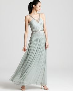 I like the silvery colour and the drop waist style.  Mignon Gown - Beaded | Bloomingdale's