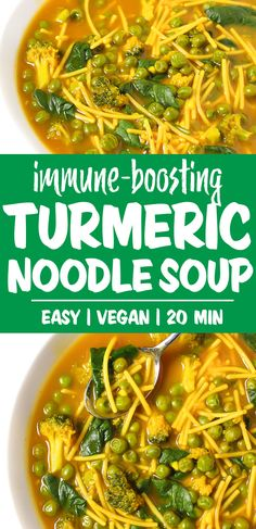 Immune-boosting Vegan Turmeric Noodle Soup with a miso, garlic, ginger-infused broth! Great benefits for healing, inflammation, and cold & flu season. Best Nutrition Food, Health And Nutrition, Nutrition Articles, Health Tips, Nutrition Products, Nutrition Chart, Proper Nutrition, Fitness Nutrition, Soup Recipes