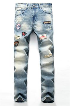 $30.11 Patch Design Zipper Fly Scratched Ripped Jeans