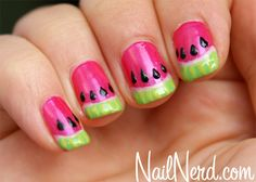 watermelon nail art - plus awesome nail polish blog!