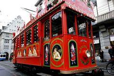 Specially Decorated Christmas Tram - Zurich Switzerland