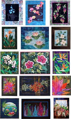Exotic flower quilts (plumeria, bird of paradise, hibiscus and more)