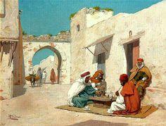 Peinture d'Algérie - Peintre Espagnol, José Alsina(1850 - 1925), huile sur toile , Titre : Joueurs d'échecs.