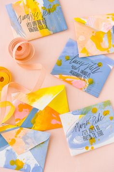 Learn how to make painted DIY envelopes from scratch with this easy-to-follow tutorial from Paper and Stitch.