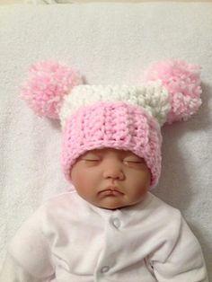 b95ef83449f Chunky Double Pom Pom Hat. Baby Hat Knitting Patterns FreeCrochet Beanie ...