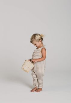 Cocoa Stripe Button Jumpsuit | Minou Kids