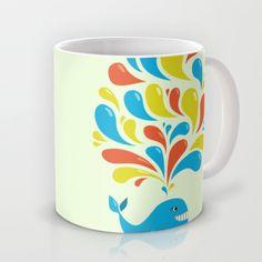 Colorful Swirls Happy Cartoon Whale Mug by Boriana Giormova - $16.00 #mug #drinkware #society6
