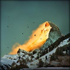 The Matterhorn, Border of Switzerland and Italy. Also known as Monte Cervino in Italian, or Mont Cervin in French.