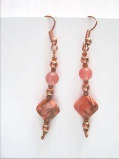 Cherry Quartz & Jasper Drop Earrings Rose and by IsleOfCraftin, $12.00
