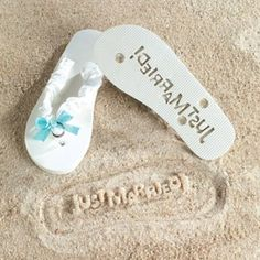"Love that these beach wedding flip flops leave a ""Just Married"" imprint in the sand!"