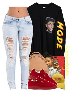 """""""{21 savage, AKA the reaper huh}"""" by xbad-gyalx ❤ liked on Polyvore featuring Apple, Fendi and Puma"""