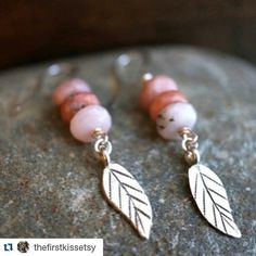 #Repost @thefirstkissetsy  Pink opal and hill tribe silver leaf earrings