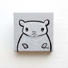 "Hamster Painting Miniature Tiny Art on 2"" x 2"" Canvas by kmwatkins Karen Watkins on Etsy"