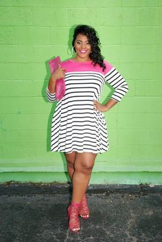 Plus Size Clothing for Women - Sailing Stripes Dress - Fuchsia - Society+ - Society Plus - Buy Online Now!