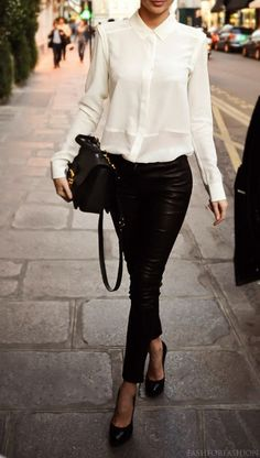 white silk button down + black leather skinnies + black heels & bag