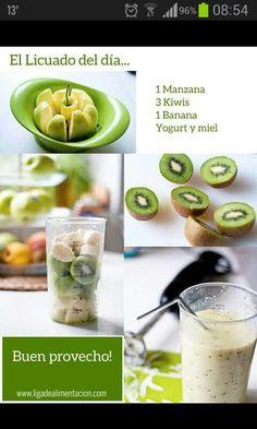 Health and Fitness on Share Sunday - A smoothie a day… apple, kiwi, banana, yogurt & honey… sign me up. I usually have a smoothie a - Kiwi Smoothie, Smoothie Drinks, Smoothie With Apple, Dinner Smoothie, Berry Smoothie Recipe, Smoothie Detox, Diet Drinks, Beverages, Yummy Drinks