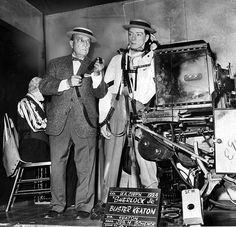 Buster Keaton at the Movieland Wax Museum in Buena Park in 1964. The new wax exhibit paid tribute to his film Sherlock, Jr., which was 40 years old at the time. (LAPL) Bizarre Los Angeles