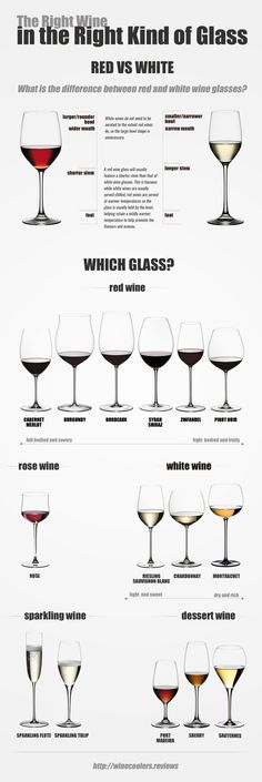 Have you ever wondered why there are different kinds of wine glasses? This infographic from Wine Coolers Reviews will illuminate the reason for different sizes and differently shaped wine glasses and help you smell the rich aroma of the right kind of wine enjoyed out of the right kind of glass for that wine.