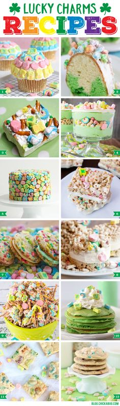 Add some luck to your day with these Lucky Charms Recipes for St. Patrick's Da… Add some luck to your day with these Lucky Charms Recipes for St. Patrick's Day that kids are sure to adore! Holiday Desserts, Holiday Baking, Holiday Treats, Holiday Recipes, Irish Desserts, Kid Desserts, Easter Recipes, Egg Recipes, Easter Ideas