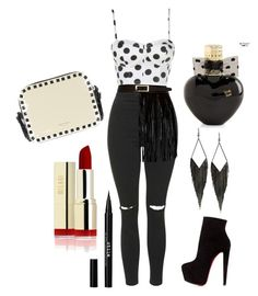 """Mini Madonna "" by anastasiya-markova ❤ liked on Polyvore featuring Topshop, River Island, Stila, Aéropostale, GUESS, Christian Louboutin and Valentino"
