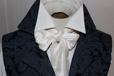 REGENCY Victorian Style Ascot Tie Cravat � Pure White Dupioni Silk - 3 inch width, I prefer this one to the off-white types
