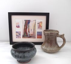 3 rarities - watercolour exploration print, Leach pottery, initialled Mike edwards Pottery. framed vintage fine art,watercolour techniques, painting techiques,arts and crafts pottery,collectable pottery,country kitchen decor, rustic home decor,country cottage decor, pottery tankards,blue bowls,pottery bowls,handmade home, shabby chic decor,