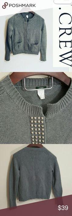 J. Crew studded sweater cardigan! S In excellent condition! Beautiful J. Crew gray sweater cardigan. 100% cotton. Gray studs. Thick, high quality material! Size small.  Bundle using the bundle feature and save! J. Crew Sweaters