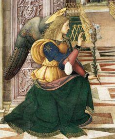 Anjo da Anunciação, 1501,Pinturicchio ( 1454-1513), Afresco, Collegiata di Santa Maria Maggiore, Spello [DETALHE]