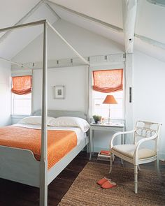 Orange accents. You can start off on a small scale by customizing a neutral room with a few coordinated accessories: a spicy-orange bedspread, terra-cotta Roman shades, and a curry-colored lampshade.