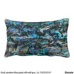Cool, modern blue paint old wall grunge art design throw pillow