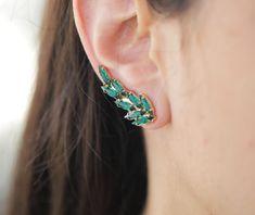 Cuff Earrings, Cluster Earrings, Crystal Earrings, Etsy Earrings, Aya Jewelry, Photo Jewelry, Climbing Earrings, Gold Pearl, Minimalist Jewelry