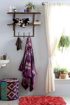 Bohemian bathroom, college apartments, home decor inspiration, bathroom ins Over Door Towel Rack, Towel Hooks, Industrial Wall Shelves, Bohemian Bathroom, Bohemian Living, Home And Deco, Home Decor Inspiration, Bathroom Inspiration, My Dream Home