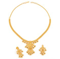 Pure Gold Jewelry -- Read more by visiting the link on the image. Gold Earrings Designs, Gold Jewellery Design, Necklace Designs, Bridal Jewelry Sets, Bridal Necklace, Short Necklace, Ruby Necklace, Simple Necklace, Necklace Set