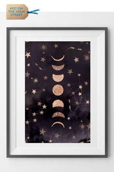 Phases Of The Moon Print - moon photography Moon Nursery, Star Nursery, Moon Wallpaper, Star Bedroom, Constellation Art, Moon Crafts, Moon Photography, Landscape Photography, Moon Decor