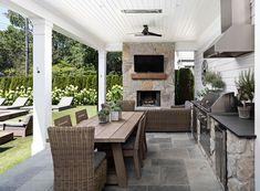 Classic Home with Wrap-around Porch - Home Bunch Interior Design Ideas Living Pool, Outdoor Living Rooms, Modern Outdoor Living, Modern Porch, Porch Paint, Porch Furniture, Outdoor Dining Furniture, Furniture Design, Backyard Patio Designs