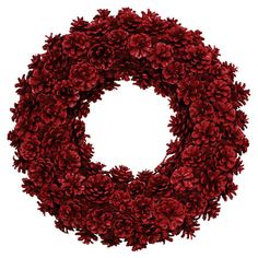 Pairing a natural pinecone design with a bold red finish, this eye-catching wreath makes a striking addition to your front door or mantel.  ...