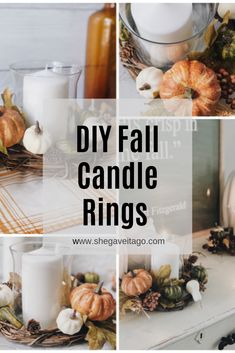 10 Fall & Fall Bathroom Decoration Ideas We LoveFall Bathroom Decoration Ideas - DIY Fall Bathroom DecorFill the lanterns with pumpkins and gourds for easy autumn decorations. Fall Candles, Mason Jar Candles, Diy Candles, Diy Candle Rings, Diy Rings, Candle Wax, Fall Vignettes, Painted Pumpkins, Fall Diy