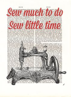 Sew Little Time Print, Sewing Machine Art Illustration via Etsy.