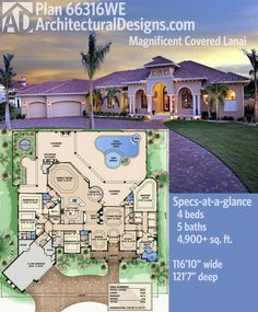 Architectural Designs Mediterranean House Plan 66316WE gives you almost 5,000 square feet inside and a covered lanai in back giving you over 1,600 square feet of entertaining space. 4 beds, 5 baths.   Ready when you are. Where do YOU want to build?
