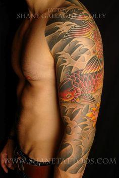 Japanese Koi 3/4 Sleeve Tattoo