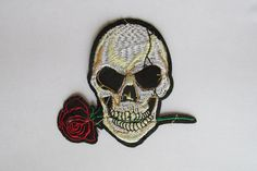 Skull and Rose Patch - iron on or sew on by TheIrishKnittingRoom on Etsy Patches, Skull, Iron, Trending Outfits, Sewing, Unique Jewelry, Handmade Gifts, Etsy, Accessories